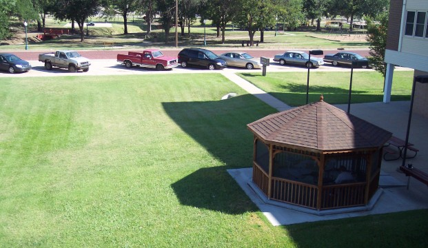 Gazebo, parking and lawn